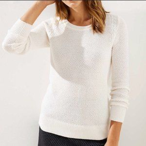 Loft Stitchy Sweater in Ivory